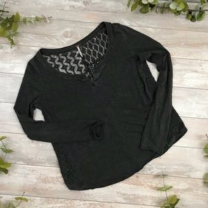 Free People Gray Laced Back Tee